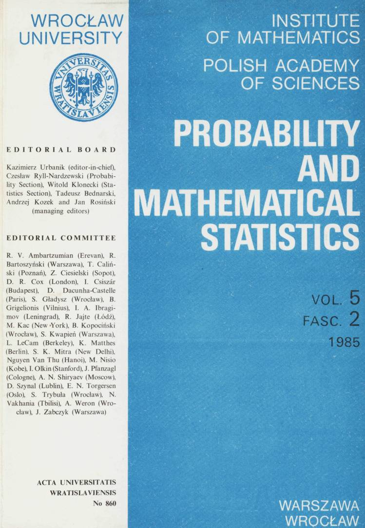 Probability and Mathematical Statistics: Vol  5, Fasc  2